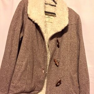 Light Brown Jacket with White Furry Collar